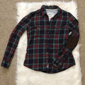 Padded Long Sleeved Plaid Flannel Shirt